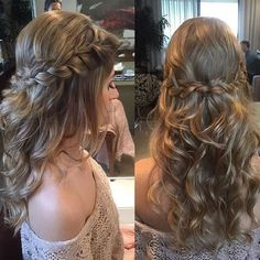 Image result for bridesmaid hair braid long half