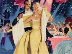 New Year's - detail from 1956 Cadillac ad. Art by Jon Whitcomb