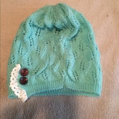 Mint and lace beanie Brand new mint with lace beanie. Perfect with just about any outfit! Three Bird Nest Accessories Hats