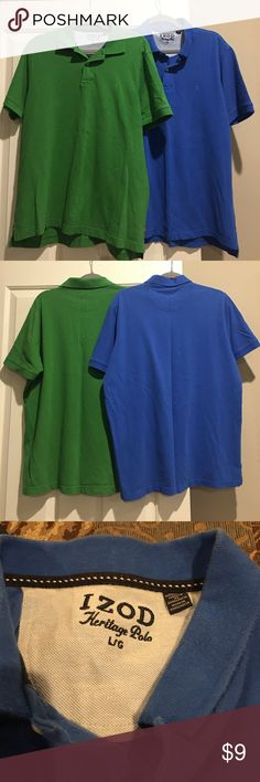 "Men's Set of 2 Izod ""Polo Style"" Shirts Men's Set of 2 Izod ""Polo Style"" Shirts; both in good condition; the blue shirt has a couple of very faint spots on the front, which are not too noticeable with eyes and don't show on pics; green no stains/flaws; $✂️10/26; $✂️11/1; $✂️11/11;$✂️11/26;$✂️12/9;$✂️12/29 Izod Shirts Polos"