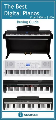 Detailed guide to The Best Digital Pianos - From $450 to $1000.  Here's a list of the highest rated digital pianos under $1000 along with advice on topics including Key Action and Weighting, Sound Quantity and Quality, Speaker Volume and Quality, Piano Pedals, Form Factor and Stand, Connectivity, and more.