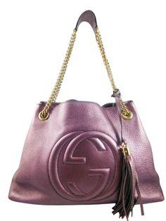 3aa4b07f52b Gucci 308982 Metallic Lilac Soho Leather Shoulder Bag (N1) - Keeks Buy + Sell  Designer Handbags
