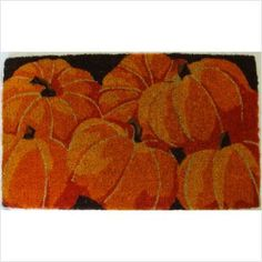 "Entryways Pumpkins Hand Woven Coir Doormat by Entryways. $34.39. 18 in x 30 in. This mat is hand stenciled with permanent fade-resistant dyes. Hand made from all-natural coconut fiber which is an excellent dirt-trapper; 3/4"" thickness. This beautifully designed hand-woven doormat will enhance your entry way or patio. It's made from the highest quality all natural coconut fiber.. Save 14%!"