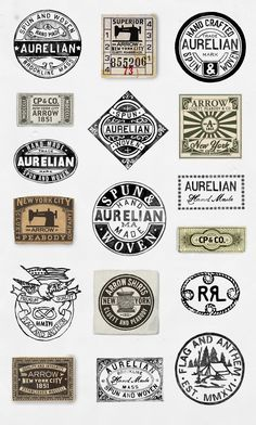 Every label is a tiny billboard and potential work of art. A small scrap of fabric that represents an epoch, a story, a world. Vintage Tags, Vintage Labels, Vintage Posters, Vintage Graphic, Retro Font, Retro Logos, Clothing Brand Logos, Branding Design, Logo Design