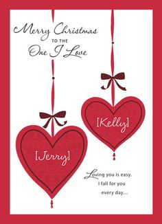 "Christmas Love Ornaments - American Greetings - Romantic Christmas Card. Wish the one you love a Merry Christmas with this red and white card, featuring dangling heart ornaments that can be personalized with your names. Personalize it further with a happy holiday message of your own inside to spread the spirit of the season. 5"" x 7"" Folded Card. Price: $2.99"