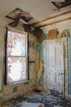 Abandoned room, house in Cairo, Illinois, USA