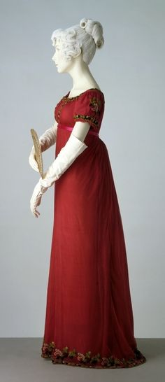 Red net dress over red silk underdress 1811
