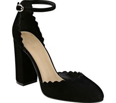 Women's Marc Fisher Sahar Ankle Strap Heel - Black Suede with FREE Shipping & Exchanges. The Marc Fisher Sahar Ankle Strap Heel is a sweet, simple two-piece heel with scalloped edges and a