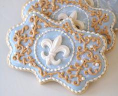 Blue & Gold Filigree Fleur-de-lis Cookies