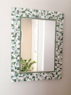 Green and Gray Wall Mirror Grey Wall Mirrors, Mosaic Mirrors, Glass Mosaic Tiles, Mosaic Wall, Green And Grey, Gray, Green Street, White Tiles, Color Tile