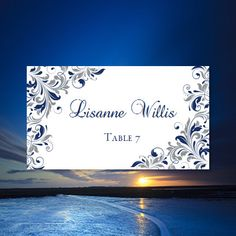printable place cards kaitlyn navy blue gray editable worddoc tent card template avery 5302 compatible any 1 or 2 color diy you print