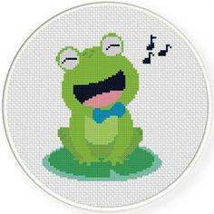 Frog Singing Cross Stitch Pattern