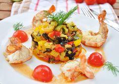 Riesengarnelen mit Gemüse-Tatar und Tomaten-Vinaigrette