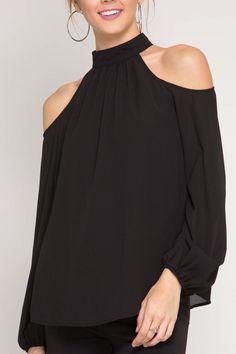c44f026898f40 Shoptiques Product  High Neck Top - main Cold Shoulder Blouse