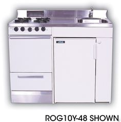 Acme ROG10Y75 Compact Kitchen with Stainless Steel Countertop, 4 Gas Burners, Oven, Sink and Upright Refrigerator (Actual Image Not Shown): ...