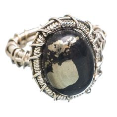 Pyrite In Magnetite (healer's Gold) 925 Sterling Silver Ring Size 8.25 RING763202