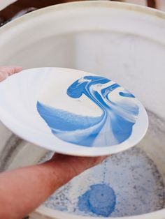 One of our plates, mid-glaze! Photo - Sean Fennessy, production – Lucy Feagins / The Design Files.
