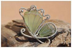 Soft Green Butterfly Pendant Genuine Sea Glass Wire by Estela027, $95.00