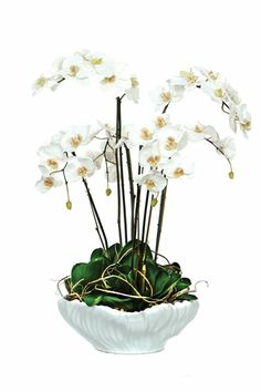 Beautiful White Orchid Silk Flower Arrangement in Ceramic Bowl. Oriental Style, Oriental Fashion, Faux Flowers, Silk Flowers, Faux Flower Arrangements, White Orchids, Ceramic Bowls, Beautiful Flowers, Florals
