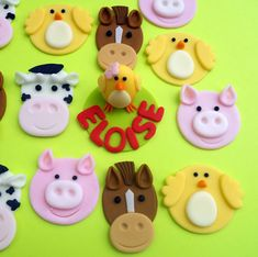 FARM ANIMAL set Edible Cupcake Toppers - One dozen PLUS 3D figure. $21.00, via Etsy.