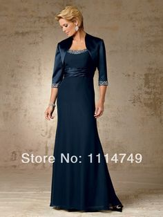 Fashion 2014 Floor Length Chiffon A Line Beaded Modern Navy Blue Mother of the Bride Dresses with Jacket Free Shipping LM158