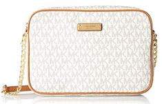 Michael Kors Women's Jet Set Large Crossbody Bag, Vanilla, OS Gold-tone hardware, leather trim Fully lined interior Main zip pocket Interior wall pockets Adjustable leather shoulder strap with a drop Michael Kors Jet Set, Michael Kors Shoulder Bag, Ashley Johnson, Sac Bandouliere Michael Kors, Large Crossbody Bags, Purse Crossbody, Kate Spade Purse, Pumps, Signature Logo