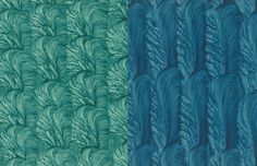 Rosamond Loring, Paste Papers: Left Created with Bristle Brush, Right Created with Painter's Brush.