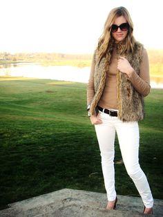 white jeans & fur vest