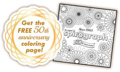 Printable Spirograph coloring page; fun for kids and adults! Spirograph, 50th Anniversary, Doodle Art, Cool Kids, Coloring Pages, Doodles, Printable, Fun, Crafts