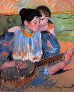 The Banjo Lesson, 1894, pastel on paper,  Private Collection, Impressionism, Mary Cassat (1844-1926).  Artist: Mary Cassatt  Start Date: 1893  Completion Date:  Style:   Genre: genre painting  Technique:   Gallery: