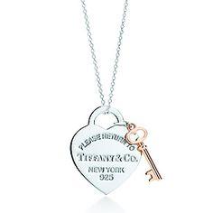 Tiffany & Co. | Item | Return to Tiffany™ heart key pendant in silver and RUBEDO® metal, medium. | United States