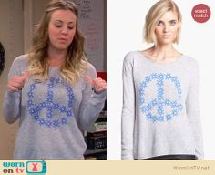 Penny's grey floral peace sign sweater on The Big Bang Theory.  Outfit Details: http://wornontv.net/30055/ #TheBigBangTheory