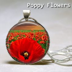Poppy Flowers Round Glass Tile Dome Cabochon by Youstillneedit