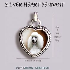 POODLE DOG Standard White - Ornate HEART PENDANT Tibetan Silver   Collectibles, Animals, Dogs   eBay!