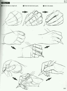 Drawing reference hand holding a pencil