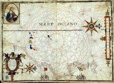 Carta náutica de las costas del Mediterráneo, 1592. [Carta de las costas del mar Mediterráneo] [Material cartográfico] / Vincus. Demetrius Voltius Raguseus fecit Neapoli die 28 februari 1592.