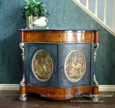 Antique cabinet incorporating the Unicorn tapestries. (code:thepaintfactory for discount). Types Of Furniture, Painted Furniture, Diy Furniture, Unicorn Tapestries, Tapestry, Copper Paint, Wall Groupings, Antique Cabinets