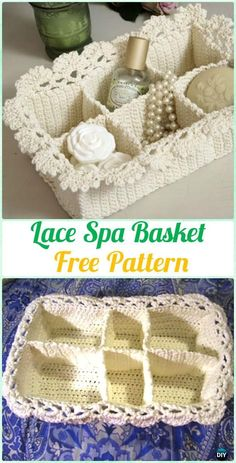 Crochet Lace Spa Basket Free Pattern - Crochet Spa Gift Ideas Free Patterns
