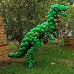 Balloon Arrangements, Balloon Decorations, Birthday Party Decorations, Dragon Baby Shower, Dinosaur Balloons, Qualatex Balloons, Dinosaur Birthday Party, Balloon Animals, Birthdays
