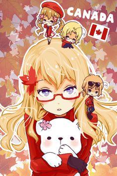 Hetalia (ヘタリア) - Canada (カナダ), Fem!Canada, 2P!Canada, & 2P!Fem!Canada - Art by Whitepaperrabbits