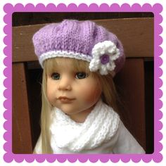 HAND KNIT HAT & COWELL TO FIT  AMERICAN GIRL OR GOTZ  18inch DOLL