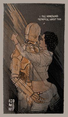 "Hahahaha...looks like Leia is trying to see if Threepio is ""fully functional""."
