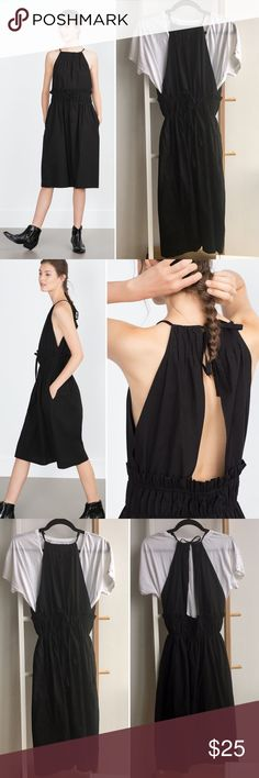 Zara Black Dress with Gathered Waist Sleeveless black midi dress with straight neck line, back cut-out, gathered belt detail at waist, and side pockets. Ties at waist and back allow for an adjustable fit. Size M. 100% cotton. Excellent used condition, worn only once. (White t-shirt in photo not included). Zara Dresses Midi