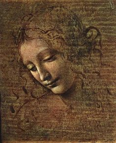 tête dun échevelé  de jeunes  FEMME AU , Huile de Leonardo Da Vinci (1452-1519, Italy)