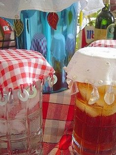 shoo fly covers in sets. Choose trims that are medium to heavy in weight to hold down the hemmed fabric circles. Display in place on a drinking pitcher with matching glasses to help these shoo fly covers sell quickly.