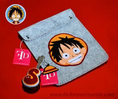 ☠ Luffy from The One Piece anime ☠ Handmade felt  Ipad Case & keychain by FD.FOREVER