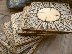Hand Made Hellraiser Puzzle Box Coasters Set Of 6, Stone Cast Hellraiser Lament…