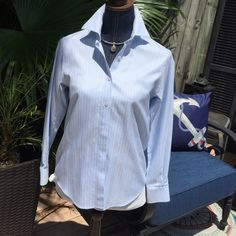 Beautiful Talbots blouse Super classy Talbots blouse light blue and ready for a breezy summer with white jeans and heels!!! Talbots Tops Blouses