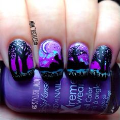 silhouette fairy in the forest by  stylish_mom  #nail #nails #nailsart
