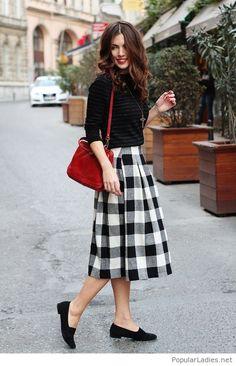 plaid-midi-skirt-black-blouse-and-flats
